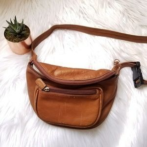 VINTAGE Leather Fanny Pack Boulder Ridge brown